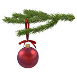 Christmas ball on fir branch, 3d illustration Stock Photography