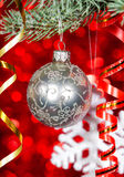 Christmas ball on fir branch Royalty Free Stock Image