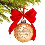 Christmas ball on fir branch Royalty Free Stock Photos