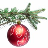 Christmas ball on fir branches. Royalty Free Stock Photos