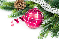 Christmas ball and fir branches with decorations Royalty Free Stock Photography
