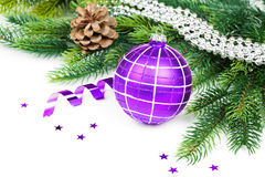 Christmas ball and fir branches with decorations Stock Images