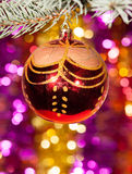 Christmas ball on fir tree branch Royalty Free Stock Image