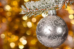 Christmas ball on fir tree branch Royalty Free Stock Photo