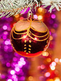 Christmas ball on fir tree branch Royalty Free Stock Photos