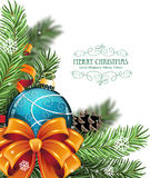 Christmas ball and fir tree branches Royalty Free Stock Photo