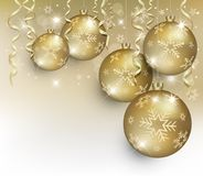 Christmas ball flake gold. Template Royalty Free Stock Photos