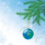 Christmas ball in form of the globe Royalty Free Stock Images