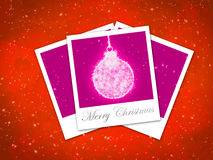 Christmas ball frame on staryy red background Royalty Free Stock Images