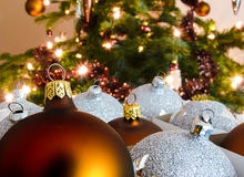 Christmas ball in front of tree Royalty Free Stock Photos