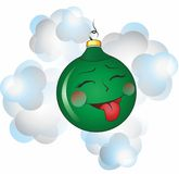 Christmas ball. Funny Christmas toy, that showed language Royalty Free Stock Photography