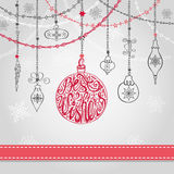 Christmas ball,garlands in greating card. Christmas greeting card with ball, garlands , ribbon.Holiday background.New year design template.Handwriting lettering royalty free illustration