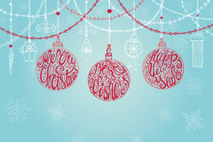 Christmas ball,garlands.New year card Stock Photo
