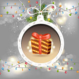 Christmas ball with gift Royalty Free Stock Photo