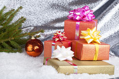 Christmas ball and gifts Stock Photo