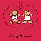 Christmas ball with Gingerbread decoration. Christmas ball with Gingerbread man and woman. Vector illustration. You can use it  for design of greeting card Royalty Free Stock Image
