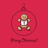 Christmas ball with Gingerbread man. Vector illustration. You can use it  for design of greeting card Stock Photo