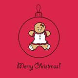 Christmas ball with Gingerbread woman. Vector illustration. You can use it  for design of greeting card Royalty Free Stock Photo