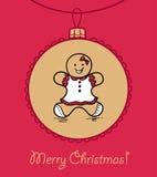 Christmas ball with Gingerbread woman Stock Photos
