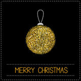 Christmas ball. Glitter gold. Merry Christmas card. Dash line. Black background Royalty Free Stock Photography