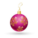Christmas ball. Glitter Christmas purple ball with gold snowflakes isolated on white background. For Happy New Year and Merry Christmas greeting card design Royalty Free Stock Images