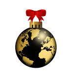 Christmas ball with globe design over white Stock Images