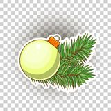 Christmas ball with gold bow. Holiday christmas toy for fir tree. The big yellow Christmas ball sticker. Festive Christmas decorations for the Christmas tree Stock Photos