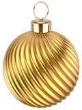 Christmas ball gold decoration golden glossy yellow. Christmas ball gold decoration golden glossy. Happy New Year bauble traditional luxury. Merry Xmas greeting Stock Image