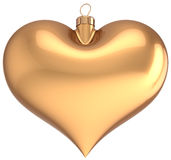 Christmas ball gold heart shaped. Decoration I love New Year bauble golden blank. Merry Xmas greeting card souvenir. Traditional winter holidays icon. Detailed Stock Photos