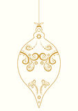Christmas ball gold ornaments hand drawn line abstract vector illustration Stock Photos
