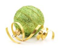 Christmas Ball & Gold Ribbon Royalty Free Stock Photos