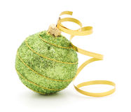 Christmas Ball & Gold Ribbon Stock Photos