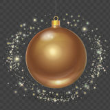 Christmas ball with gold stars.Xmas vector design element Illustration. Royalty Free Stock Photography
