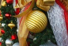 Christmas ball gold tree garland decoration Stock Photos