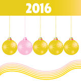 Christmas ball gold 2016 vector. In colorful Royalty Free Stock Images