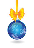 Christmas ball with golden bow Stock Image
