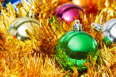 Christmas ball and golden decoration Royalty Free Stock Images