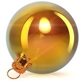 Christmas ball golden decoration closeup sparkling. Christmas ball golden decoration closeup New Year`s Eve bauble hanging adornment Merry Xmas ornament polished Stock Photography
