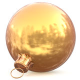 Christmas ball golden decoration gold New Years Eve bauble. Wintertime hanging adornment souvenir. Traditional ornament happy winter holidays Happy Merry Xmas Royalty Free Stock Photos