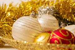 Christmas ball with golden decorations Royalty Free Stock Photography