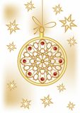 Christmas ball with golden filigree lace patterns and stars on background. Delicious Christmas card theme in vector EPS10. Christmas ball with golden filigree Stock Photography