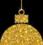 Christmas Ball with Golden Sparkle Surface Stock Image