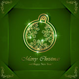 Christmas ball on green background Royalty Free Stock Photo