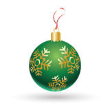 Christmas ball. In green color decorated with gold snowflakes isolated on white background. Christmas decoration for Merry Christmas and happy New Year Stock Photos