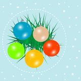 Christmas ball on green spruce branch. New year vector card Royalty Free Illustration