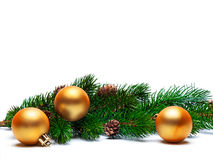 Christmas ball on green spruce branch Royalty Free Stock Image