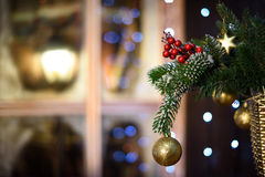 Christmas ball on green spruce branch.  Stock Photos