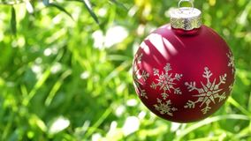 Christmas ball on green summer background stock video