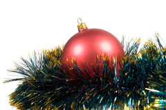 Christmas ball in green tinsel Stock Photography