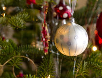 Christmas ball on green tree Stock Photos
